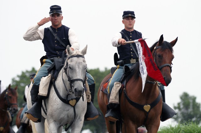 The 1st Inf. Div.'s Commanding General's Mounted Color Guard made the trip from Fort Riley, Kansas, to Fort Leonard Wood, Missouri, for the 4th MEB's inactivation ceremony June 17. The ceremony took place at Fort Leonard Wood's Gammon Field.