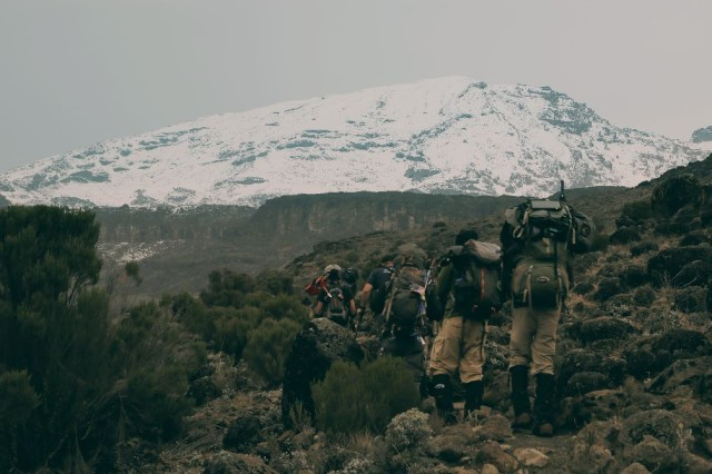 Tanzania is home to Mount Kilimanjaro, the highest mountain in Africa.  Members of Team Kilimanjaro hike across rocky terrain during a seven-day journey to the summit of Mount Kilimanjaro in 2014.  Soldiers from 20th CBRNE Command (Chemical, Biological, Radiological, Nuclear, Explosives) conducted a disaster preparedness assessment visit to Tanzania in May 2015.