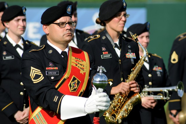 The 399th Army Band from Fort Leonard Wood performs before the Springfield Cardinals Military Appreciation game Saturday. The band joined the Maneuver Support Center of Excellence Color Guard and several Soldiers, Sailors and Airmen for pre-game ceremonies.