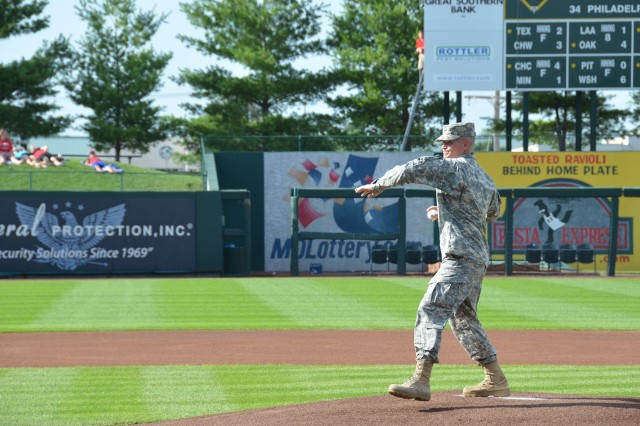 Maneuver Support Center of Excellence and Fort Leonard Wood Commanding General, Brig. Gen. Kent Savre, throws out the ceremonial first pitch at the Springfield Cardinals MIlitary Appreciation game Saturday.