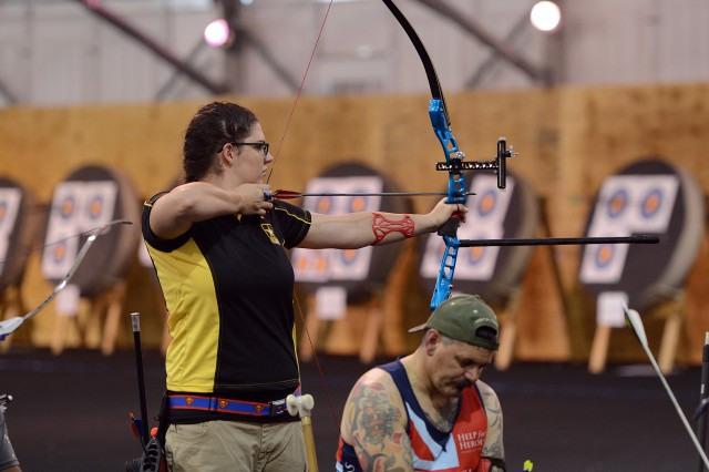 Army Reserve Spc. Sydney Davis took home a gold medal in team recurve archery at the 2015 Department of Defense Warrior Games in Quantico, Va., June 22, 2015.