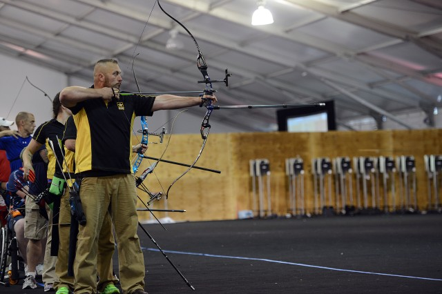 Army veteran Sgt. Sean Hook took home two gold medals in recurve bow archery at the 2015 Department of Defense Warrior Games in Quantico, Va., June 22, 2015.