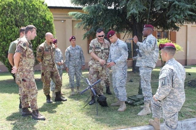 Signaleers, from the 173rd Airborne Brigade and the Italian 8th Parachute Assault Engineer Regiment, communicate tactical satellite communication systems to each other during combined radio training in Legnago, Italy, June 16, 2015.