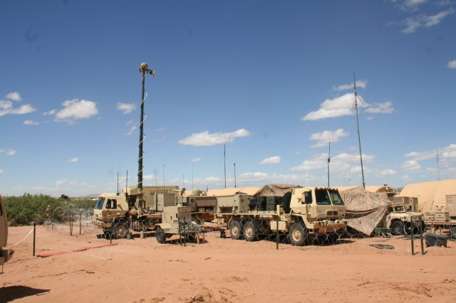 During Network Integration Evaluation 15.2 in May 2015, the Army conducted a transport convergence demonstration leveraging the Modular Communications Node - Advanced Enclave (MCN-AE) and other network upgrades. This Warfighter Information Network-Tactical (WIN-T) Increment 2 equipment was used at the brigade main command post to support the MCN-AE demo, which passed intelligence information over the WIN-T network. (U.S. Army photo by Amy Walker, PEO C3T)