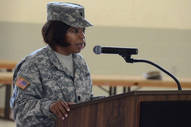 Lt. Col. Denise Walker delivers her outgoing remarks at the Warrior Transition Battalion change of command ceremony on June 19. (DoD Photo by Wesley Elliott, EAMC Public Affairs Officer, U.S. Army/Released)