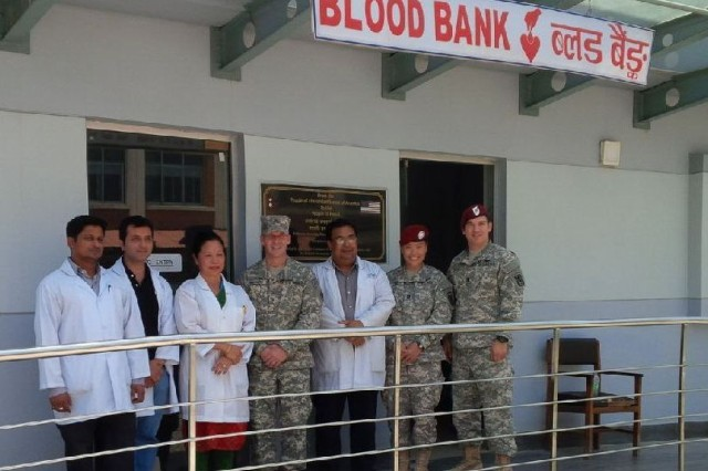 Brig. Gen. Jeffrey Milhorn, deputy commanding general-support for Joint Task Force 505 during Operation Sahyogi Haat and commanding general of the Pacific Ocean Division, visited the blood center constructed by the Alaska District at the Tribhuvan University Teaching Hospital in Kathmandu following the deadly earthquakes in April and May. The facility suffered no damage in the earthquake and remained operable.