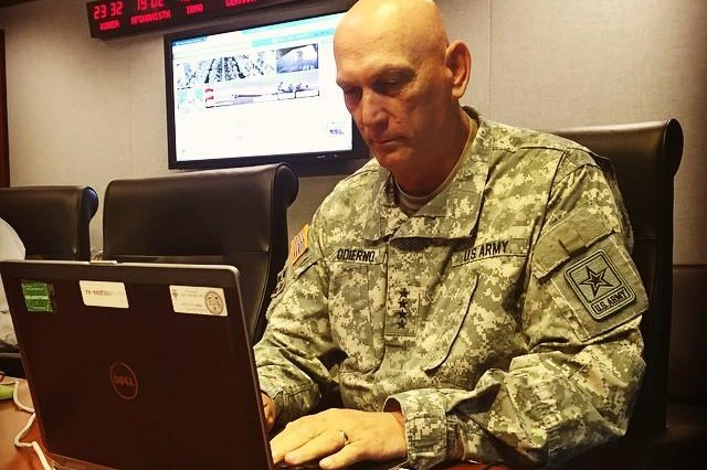 Army Chief of Staff Gen. Ray Odierno took to Facebook to answer questions from the social media public regarding new and existing Army policy, June 24, 2015.