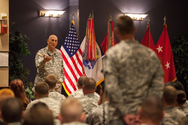 Army Chief of Staff Gen. Ray Odierno answers a question from a Soldier during a town hall meeting on Fort Drum, N.Y., June 23, 2015.
