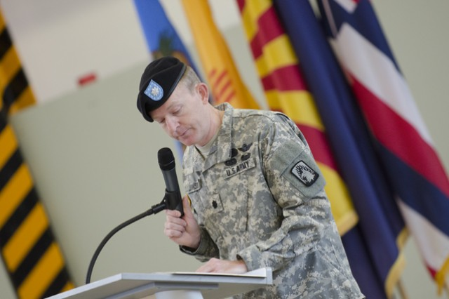 Lt. Col. Mark C. Johnson, the battalion commander for 3rd Bn., 158th Avn. Regt., 12th CAB, delivers his speech during the battalions color casing ceremony at Katterbach Kaserne, June 24, 2015.  The casing of the colors symbolizes the deactivation of the unit as part of the U.S. Army's Aviation Restructuring Initiative implemented earlier this year.