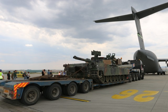 US tanks flown across Europe for training
