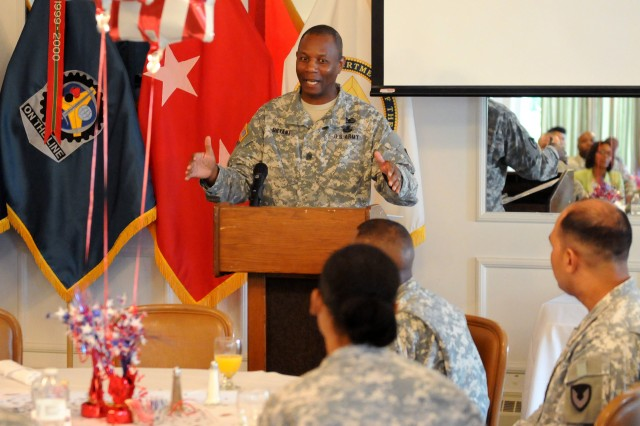 Command Sgt. Maj. Anthony Bryant, U.S. Army Sustainment Command, speaks during the awards breakfast for ASC's Best Warrior Competition at Rock Island Arsenal, Illinois, June 25. (Photo by Sgt. 1st Class Shannon Wright, ASC Public Affairs)