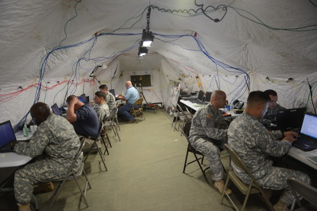 Soldiers, of the 101st Cyber Protection Team, participate in the Joint Users Interoperability Communications Exercise at Aberdeen Proving Ground, Md., June 24, 2015.