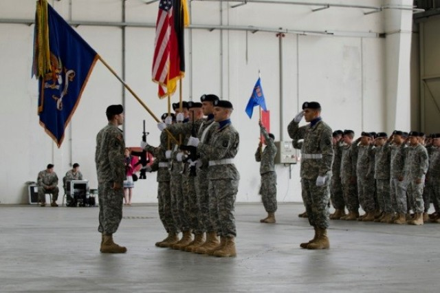 Soldiers from the 3rd Bn., 159th Avn. Regt., 12th CAB, case the battalion colors here, June 23, 2015.  The unit is moving to Fort Wainwright, Alaska, as part of the Army Aviation Restructuring Initiative, which is designed to reorganize and reposition aviation assets across the Army.