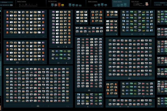 The interface shown provides a visual landscape of all the images within a collection so the user can view the number and size of the clusters identified by the system. Along the top is a dashboard summarizing the attributes of the collection such as file types and the time and location images were taken. Along the left side are the filters to highlight the images, which meet that criteria and storage bins that can be used to organize targeted images for later analysis. Instead of dealing with a hierarchy of menus to navigate, the user simply zooms in like Google Maps to view more details and pans and zooms around to examine the rest of the collection, applying filters and collecting relevant images for later analysis as needed.