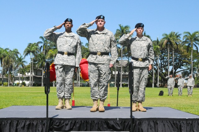 "U.S. Army Pacific commanding general Gen. Vincent K. Brooks (left), Brig. Gen. Robert J. Ulses (center), outgoing assistant chief of staff of operations, U.S. Army Pacific, and Brig. Gen. Bryan P. Fenton,  incoming assistant chief of staff of operations, U.S. Army Pacific, salute the American flag during the playing of the national anthem at a Flying ""V"" ceremony held at historic Palm Circle, Fort Shafter, Hawaii, May 28. The Flying ""V"" ceremony was held to honor Ulses for his distinguished service as he prepares to depart USARPAC, and Fenton as he arrives at USARPAC after an celebrated as the deputy commanding general of the 25th Infantry Division, at Schofield Barracks, Hawaii. The ""V"" refers to the way the colors are posted during the ceremony, which is V-shaped. (U.S. Army photo by Staff Sgt. Chris McCullough, U.S. Army Pacific Public Affairs)"