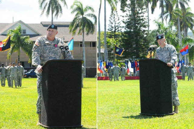 "Brig. Gen. Robert J. Ulses (left), outgoing assistant chief of staff of operations, U.S. Army Pacific, and Brig. Gen. Bryan P. Fenton,  incoming assistant chief of staff of operations, U.S. Army Pacific delivers their speeches during a Flying ""V"" ceremony held at historic Palm Circle, Fort Shafter, Hawaii, May 28. Ulses has 30 years on active duty with the U.S. Army. He has been with USARPAC since 2013, during which time he manned the assistant chief of staff of operations as the position's first general after USARPAC was elevated from a 3-star command to a 4-star command as part of the Asia-Pacific strategic rebalance. Fenton comes to USARPAC from the 25th Infantry Division, at Schofield Barracks, Hawaii, where he was the deputy commanding general of operations. The ""V"" refers to the way the colors are posted during the ceremony, which is V-shaped. (U.S. Army photos by Staff Sgt. Chris McCullough, U.S. Army Pacific Public Affairs)"