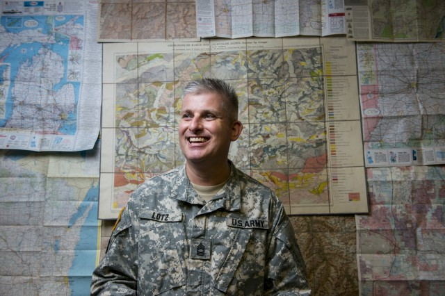 Master Sgt. Steven Lotz, geospatial analyst for the 416th Theater Engineer Command, or TEC, is the first member of the newly-formed geospatial cell added to the TEC as part of the command's redesign process. The geospatial cell is looking for officers, warrant officers and senior noncommissioned officers to bring onto the team.