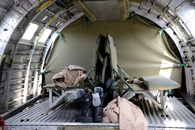 "Inside the crew seat area of the B-24 Liberator ""Diamond Lil"" is shown. The plane was open to visitors after the Arsenal of Democracy Flyover test flight at Manassas Regional Airport in Virginia, May 7, 2015. World War II veterans were on hand at the event to share their stories."