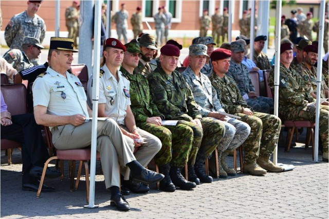 NATO soldiers from France, Estonia, the Czech Republic, U.S. Air Force, Slovenia, Italy and paratroopers from the U.S. Army's 173rd Airborne Brigade observe the brigade's change of command July 9, 2015 at Caserma Del Din, Vicenza, Italy. The 173rd Airborne Brigade is the Army Contingency Response Force, capable of providing ready forces across the U.S. European, Africa and Central Commands areas of responsibility.  (U.S. Army photo by Visual Information Specialist Paolo Bovo/released)