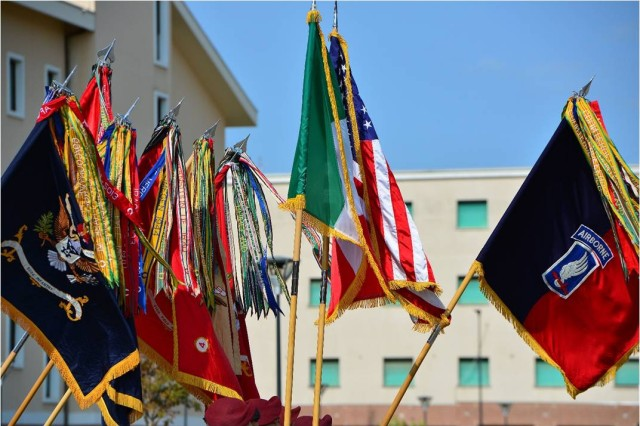The colors of the 173rd Airborne Brigade and its battalions, along with the national flags of Italy and the United States are carried July 9, 2015 during the brigade change of command ceremony at Caserma Del Din, Vicenza, Italy. The 173rd Airborne Brigade is the Army Contingency Response Force, capable of providing ready forces across the U.S. European, Africa and Central Commands areas of responsibility.  (U.S. Army photo by Visual Information Specialist Paolo Bovo/released)