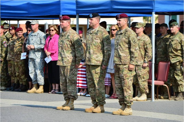 (from left) Col. Michael Foster, the  outgoing commander of the 173rd Airborne Brigade, U.S. Army Europe Commanding General Lt. Gen. Ben Hodges and 173rd Airborne Brigade Commander Col. Gregory Anderson conduct a brigade change of command ceremony at Caserma Del Din, July 9, 2015 Vicenza, Italy. The 173rd Airborne Brigade is the Army Contingency Response Force, capable of providing ready forces across the U.S. European, Africa and Central Commands areas of responsibility.  (U.S. Army photo by Visual Information Specialist Paolo Bovo/released)
