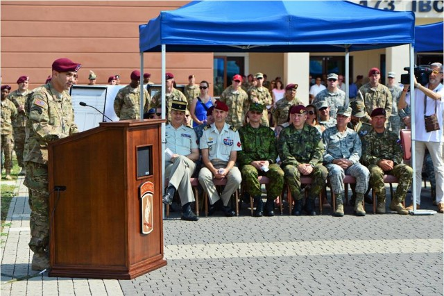 173rd Airborne Brigade Commander Col. Gregory Anderson addresses paratroopers, families, friends and NATO allies July 9, 2015 during the brigade's change of command ceremony at Caserma Del Din, Vicenza, Italy. The 173rd Airborne Brigade is the Army Contingency Response Force, capable of providing ready forces across the U.S. European, Africa and Central Commands areas of responsibility.  (U.S. Army photo by Visual Information Specialist Paolo Bovo/released)