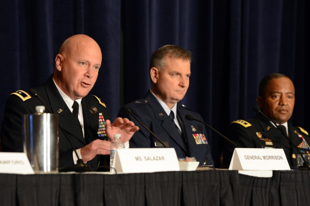 Maj. Gen. John B. Morrison, Jr., speaks about the joint information environment during a panel discussion of the Association of the United States Army in Arlington, Va., July 9, 2015.