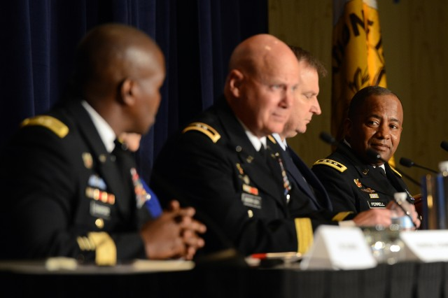 Lt. Gen. Robert S. Ferrell, far right, chief information officer, G-6, participates in a panel discussion about the joint information environment, during a one-day meeting of the Association of the United States Army in Arlington, Va., July 9, 2015.