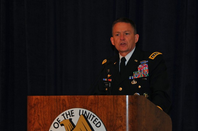 Army Vice Chief of Staff Gen. Daniel B. Allyn addresses members of the Association of the U.S. Army during a one-day symposium on the Army and global land power network in Arlington, Va., July 9, 2015.