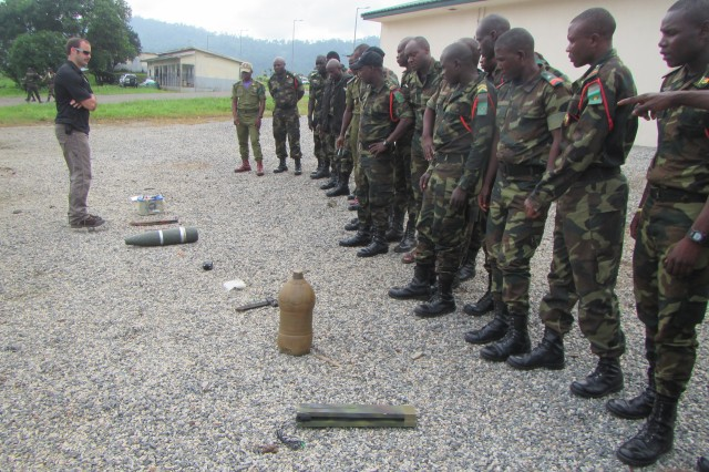 U.S. and Cameroonian troops are training to counter improvised explosive devices in Limbe, Cameroon.