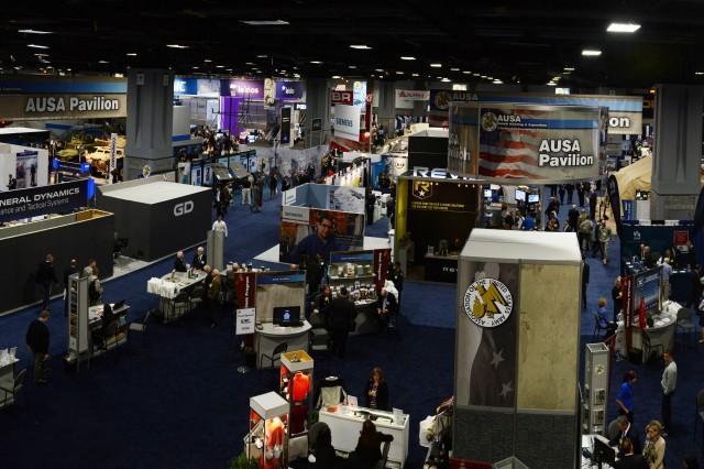 Many defense contractors set up exhibits at annual trade shows, such as the Association of the United States Army, shown here.