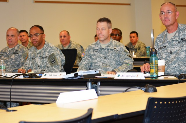 The 80th Training Command (TASS) command team, along with former 800th Logistics Support Brigade commander Col. Howard C.W. Geck, listen as two 800th LSB Soldiers explain the benefits of participation in the 80th TC Best Warrior Competition and the Sergeant Audie Murphy Club induction boards. The briefing took place during the brigade's Yearly Training Brief in Mustang, Okla., June 27, 2015. From left to right, Brig. Gen. Thomas Evans, 80th TC Deputy Commander- Support, Maj. Gen. A.C. Roper, commander 80th TC, Geck and Command Sgt. Maj. Jeffrey Darlington, 80th TC command sergeant major.