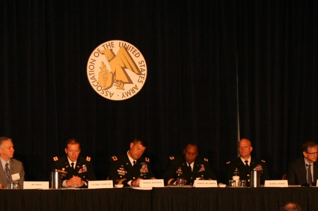 "One of the Army's goals in enabling mission command is to make it tailorable, simple and intuitive, said Col. Michael Thurston (second left ), project manager for Mission Command, assigned to the Program Executive Office for Command, Control, Communications-Tactical. Thurston was part of a panel focused on enabling mission command, during the Association of the United States Army's latest ""network hot topic"" series held at the Crystal Gateway Marriott, Arlington, Va., on July 9, 2015."