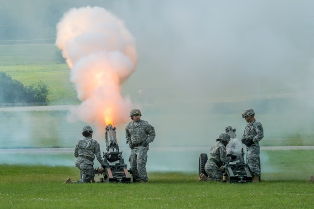 Soldiers of the cannon detail participate in the 3rd Chemical Brigade change of command July 10 on Gammon Field.