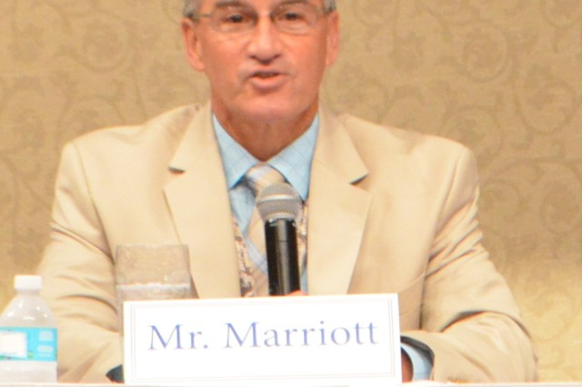 Bill Marriott, deputy commander of the Aviation and Missile Command, answers a question posed to a leadership panel at the LIFT Leadership Forum on July 15, 2015, at The Summit.