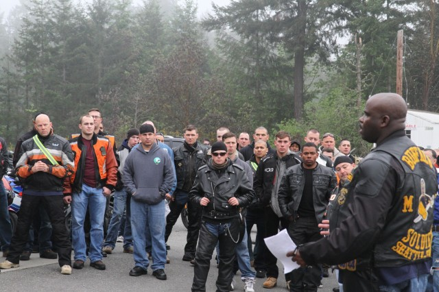Soldiers of the 7th Infantry Division gather to conduct a safety ride to kick off the summer 2015 riding season. Riders went from JBLM to Elma, Wash., and returned on a route to Lacey, Wash., for the finish.