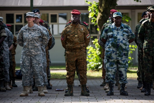 U.S., African and European service members stand in formation during the opening ceremony for Western Accord 2015 at Harskamp in the Netherlands, July 20, 2015.