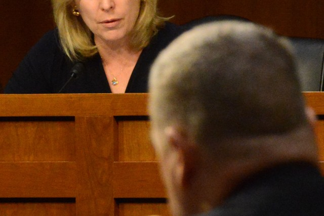 Sen. Kirsten E. Gillibrand (D-NY) questions Gen. Mark A. Milley about steps the Army is taking to combat sexual assault, during a Senate Armed Services Committee hearing regarding Milley's nomination to become the next Army chief of staff, July 21, 2015.