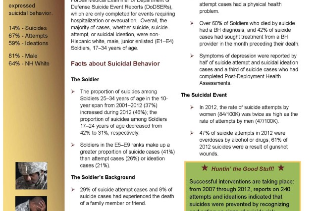 Above is a fact sheet on suicidal behavior in the United States Army