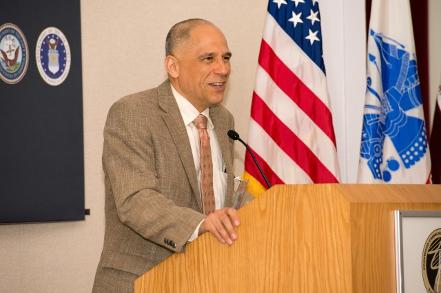 Dr. Dean Sienko, retired major general and former U.S. Army Public Health Command commander, addresses members of the USAPHC May 18 at the Aberdeen Proving Ground--South auditorium.