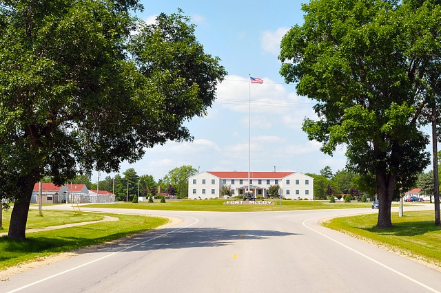 Garrison's Installation Management Command headquarters building at Fort McCoy, Wisconsin. Fort McCoy, located in southwestern Wisconsin, is the only Army installation in the state. (Photo by Jon Micheal Connor, ASC Public Affairs)