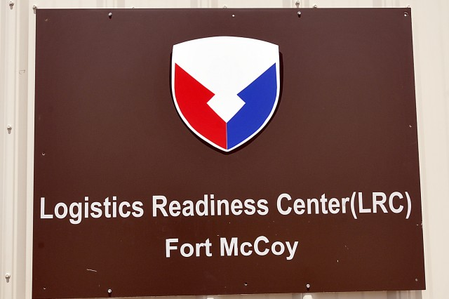 The outdoor sign at the Logistic Readiness Center-McCoy's headquarters building at Fort McCoy, Wisconsin. LRC-McCoy is one of 71 LRCs worldwide that fall under the U.S. Army Sustainment Command. (Photo by Jon Micheal Connor, ASC Public Affairs)