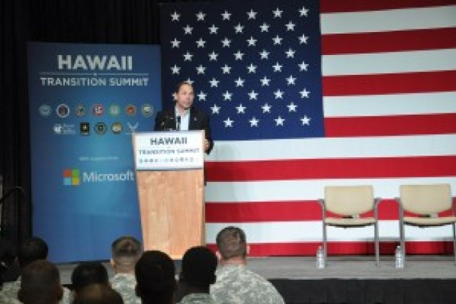 Secretary of Veterans Affairs Robert McDonald speaks at the Transition Summit held at Schofield Barracks, Hawaii.