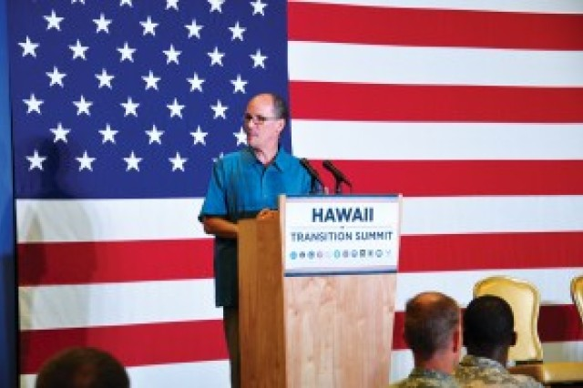 Secretary of Labor Thomas E. Perez speaks at the Transition Summit at Schofield Barracks, Hawaii.