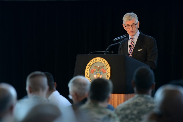 Army Secretary John M. McHugh addresses the Army Profession Annual Symposium on the strategic stewardship of the Army profession at the U.S. Military Academy at West Point, N.Y., July 27, 2015.