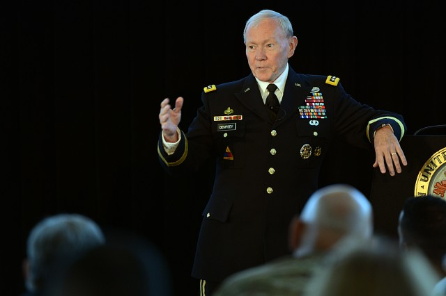 Gen. Martin E. Dempsey, chairman of the Joint Chiefs of Staff, speaks at the Army Profession Annual Symposium on the strategic stewardship of the Army profession at the U.S. Military Academy at West Point, N.Y., July 27, 2015.