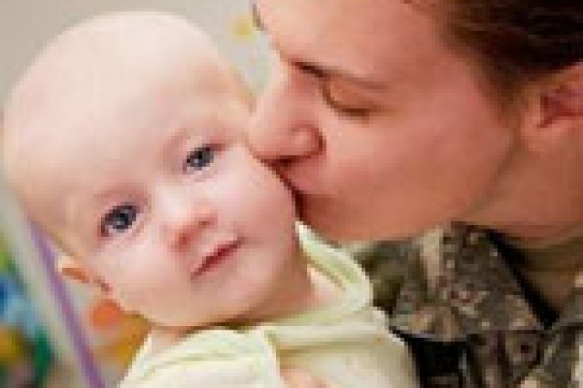 A military mother and her child.