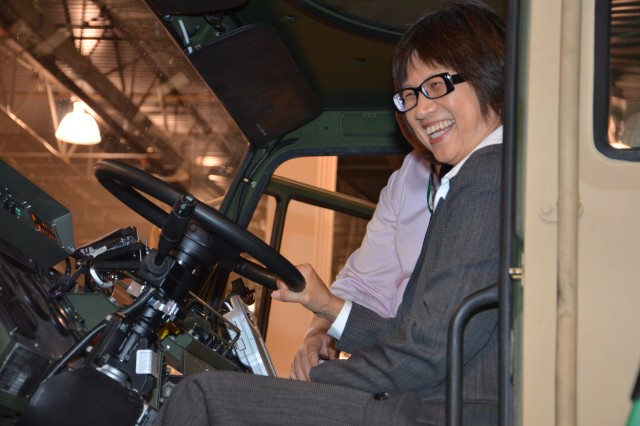 The Hon. Heidi Shyu, Assistant Secretary of the Army for Acquisition, Logistics and Technology (ASA(ALT)), visits the Army Exhibit during the 2014 Ground Vehicle Systems Engineering & Technology Symposium (GVSETS), to learn more about the Army's latest Autonomous Mobility Appliqué System (AMAS) capabilities.