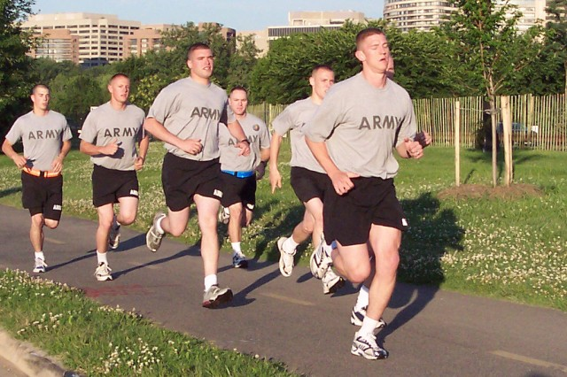 A group of Army Soldiers going for a run.