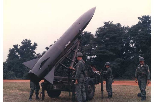 A Lance short range ballistic missile being prepared for launch test by Soldiers in the 1970s.